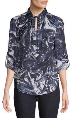 Jones New York Printed Roll-Tab Sleeve Button-Down Shirt