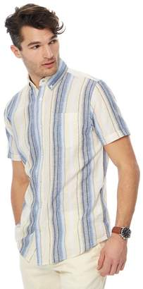 Maine New England MAINE Big And Tall Yellow Ombre Stripe Linen Blend Shirt