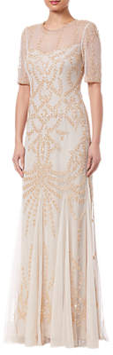 Adrianna Papell Beaded Long Dress, Biscotti