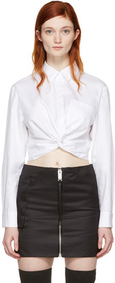 T by Alexander Wang White Twist Long Sleeve Cropped Shirt $275 thestylecure.com