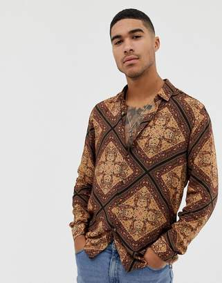Asos DESIGN regular fit paisley print shirt