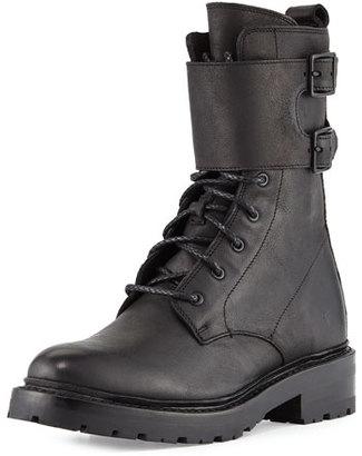 Frye Julie Shield Leather Combat Boot, Black $398 thestylecure.com