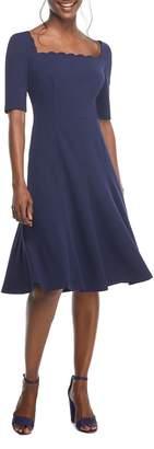 Gal Meets Glam Maria Scallop Scuba Crepe Fit & Flare Dress