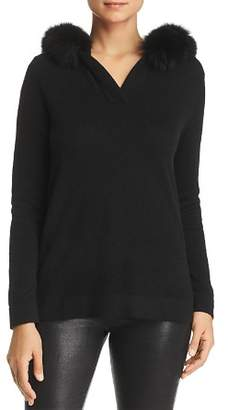 Bloomingdale's C by Fox Fur-Trim Cashmere Hooded Sweater - 100% Exclusive