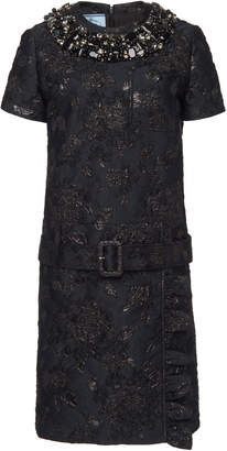 Prada Belted Embellished Brocade Mini Shift Dress
