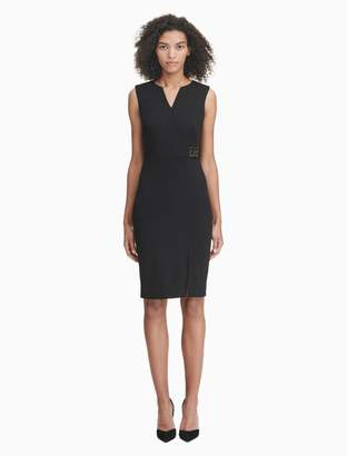 Calvin Klein v-neck logo high waist sheath dress