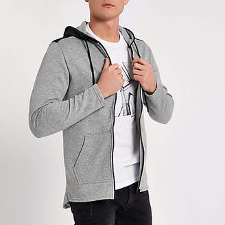 River Island Only and Sons grey mesh zip up hoodie