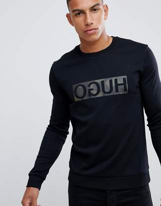 HUGO Dicago-U crew neck sweat with reverse camo print logo in black