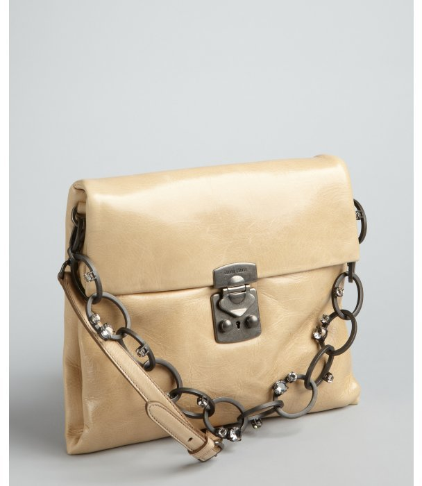 Miu Miu Khaki Distressed Leather Chain And Crystal Detailed Shoulder Bag
