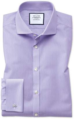 Charles Tyrwhitt Extra Slim Fit Non-Iron Spread Collar Lilac Bengal Stripe Cotton Dress Shirt Single Cuff Size 15/33