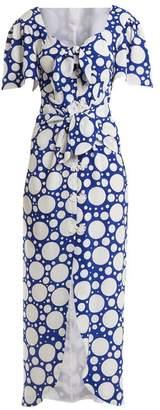 Rebecca De Ravenel Zaza Tie Front Button Down Dress - Womens - Blue Multi