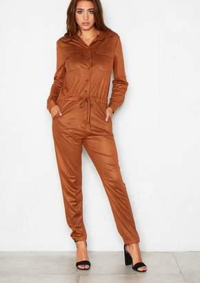 8843dbf27bea Missy Empire Missyempire Sophia Brown Suedette Utility Jumpsuit