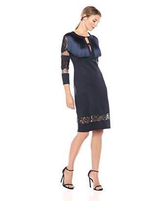 Tadashi Shoji Women's 3/4 SLV Neoprene Dress w/Fringe and lace,XS