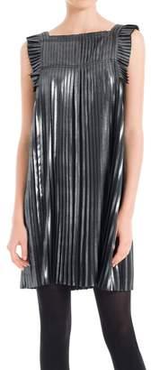 Max Studio Pleated Metallic Dress
