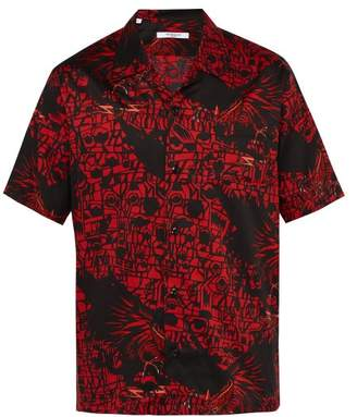 Givenchy Monster Print Cotton Shirt - Mens - Black Red