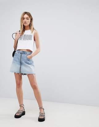 Cheap Monday Denim Mini Skirt with Exposed Zip