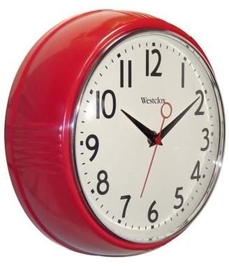 """Westclox 32042R Retro 9.5"""" Round Kitchen Wall Clock"""