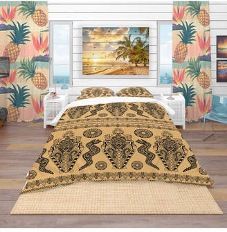 Design Art Designart 'Ethnic African Decorative Pattern' Tropical Duvet Cover Set - Twin Bedding