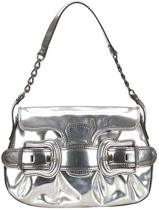 Fendi Baguette Silver Patent leather Handbag