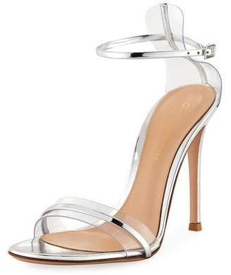 Gianvito Rossi Plexi Metallic Leather Ankle-Strap 105mm Sandal