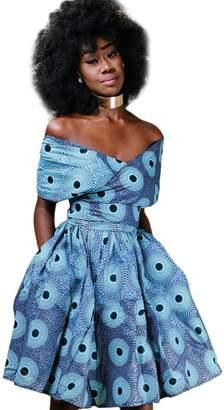IBTOM CASTLE Women Girl African Printed Maxi Flared Skirt High Waist A Line Dress Short Multi-Way Wrap Infinity Gown with Pockets XL