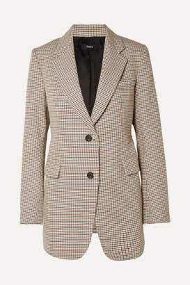 Theory Houndstooth Cotton And Wool-blend Blazer