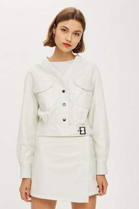 Topshop **Buckle Crop Leather Jacket by Boutique