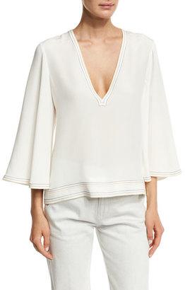 Derek Lam V-Neck Flutter-Sleeve Silk Blouse, White $995 thestylecure.com