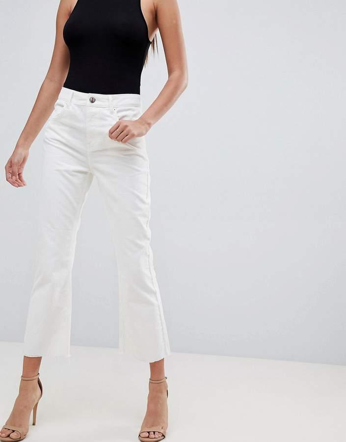 ASOS DESIGN Egerton rigid cropped flare jeans in chalk white cord in raw hem