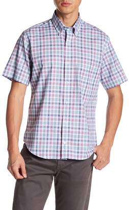Tailorbyrd Short Sleeve Plaid Print Trim Fit Woven Shirt