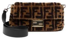 Fendi Shearling and Leather Baguette Bag