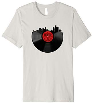 Detroit Michigan Shirt Vintage Skyline Vinyl Record T-Shirt