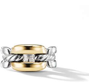David Yurman Wellesley Medium Silver Link Ring w/ 18k Gold