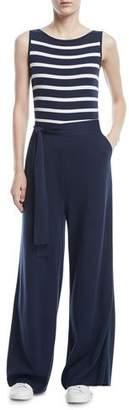Loro Piana Maya Bay-Stripe Sleeveless Wide-Leg Jumpsuit