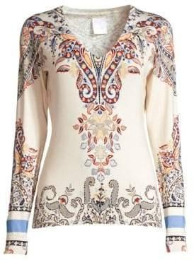 Paisley V-Neck Silk-Blend Sweater