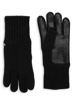 Roberto Cavalli Wool Blend Leather Palm Gloves