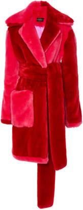 Christian Siriano Color Blocked Faux Fur Coat