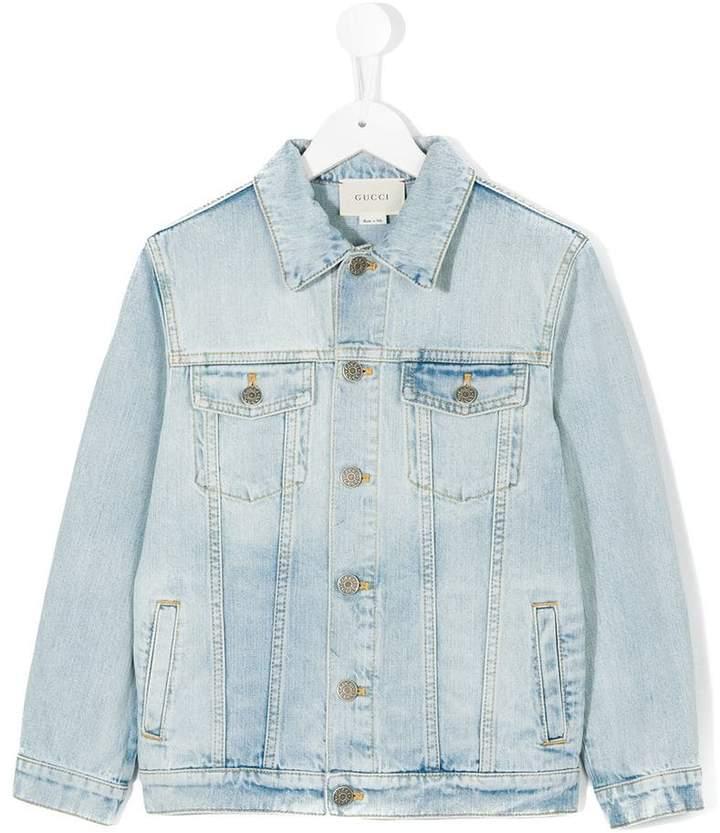 Gucci Kids wolf embroidered denim jacket