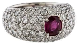Ring Ruby & Pavé Diamond Band
