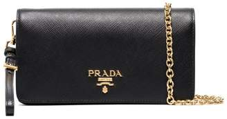 Prada black logo wallet leather chain bag