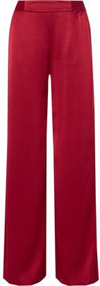 Alice + Olivia Alice Olivia - Racquel Satin Wide-leg Pants - Claret $320 thestylecure.com