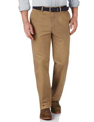 Charles Tyrwhitt Tan Classic Fit Flat Front Washed Cotton Chino Pants Size W32 L38