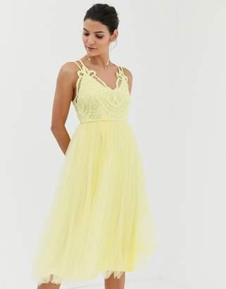 Asos Design DESIGN Premium lace top tulle cami midi dress