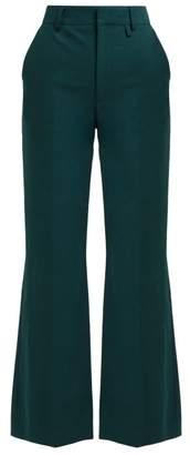 ALEXACHUNG Flared Cotton Twill Trousers - Womens - Green