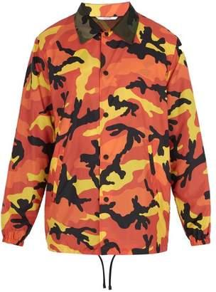Valentino Camouflage Print Windbreaker Jacket - Mens - Orange