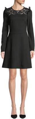 Kate Spade Lace Yoke Ponte Long-Sleeve Dress