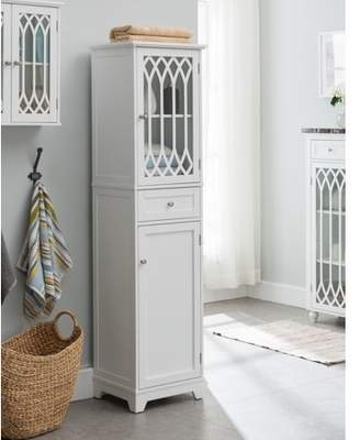 Pilaster Designs Helsinki Freestanding Bathroom Storage Tower Organizer With Cabinets, Adjustable Shelves & Drawer, White Wood, Contemporary