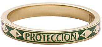 Foundrae Protection Green Champlevé Enamel Thin Band Ring