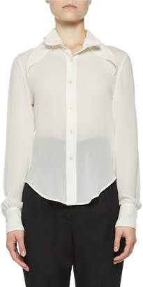 Saint Laurent Sheer Chiffon Pointed Collar Blouse