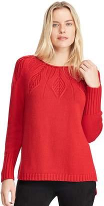 Chaps Women's Stitched Leaf Crewneck Sweater